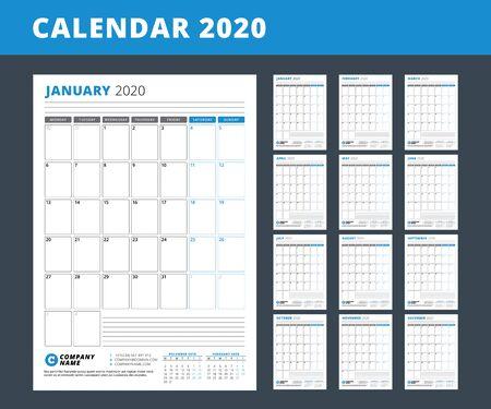 Szablon kalendarza na rok 2020. Planista biznesowy. Projektowanie papeterii. Tydzień zaczyna się w poniedziałek. Zestaw 12 miesięcy. Orientacja pionowa. Ilustracja wektorowa
