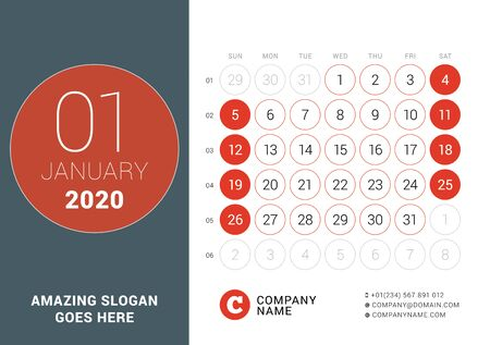January 2020. Desk calendar. Design print template with place for photo. Week starts on Sunday. Vector illustration