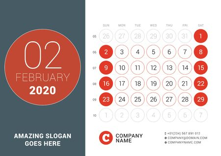 February 2020. Desk calendar. Design print template with place for photo. Week starts on Sunday. Vector illustration