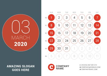 March 2020. Desk calendar. Design print template with place for photo. Week starts on Sunday. Vector illustration