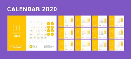 Desk calendar for 2020 year. Design print template with place for photo. Week starts on Monday. Vector illustration