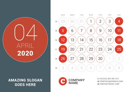 April 2020. Desk calendar. Design print template with place for photo. Week starts on Sunday. Vector illustration Ilustração