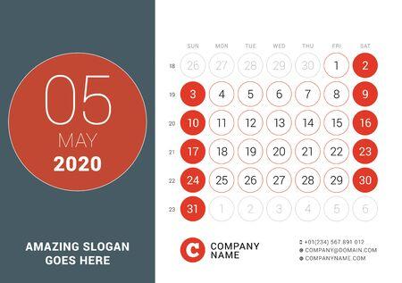 May 2020. Desk calendar. Design print template with place for photo. Week starts on Sunday. Vector illustration Ilustração