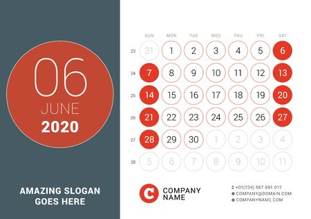 June 2020. Desk calendar. Design print template with place for photo. Week starts on Sunday. Vector illustration