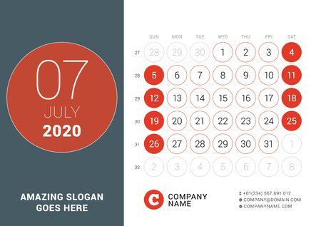 July 2020. Desk calendar. Design print template with place for photo. Week starts on Sunday. Vector illustration Ilustração