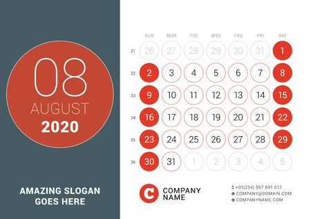 August 2020. Desk calendar. Design print template with place for photo. Week starts on Sunday. Vector illustration Stock Illustratie