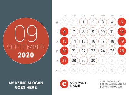 September 2020. Desk calendar. Design print template with place for photo. Week starts on Sunday. Vector illustration