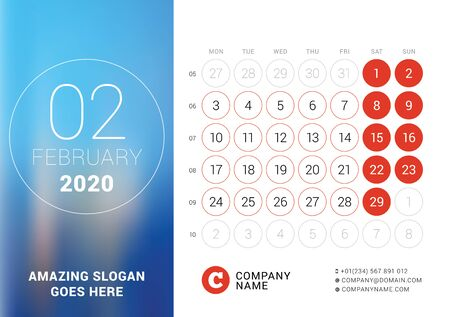 February 2020. Desk calendar. Design print template with place for photo. Week starts on Monday. Vector illustration