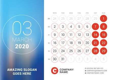 March 2020. Desk calendar. Design print template with place for photo. Week starts on Monday. Vector illustration Stock Illustratie