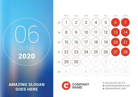 June 2020. Desk calendar. Design print template with place for photo. Week starts on Monday. Vector illustration Ilustração