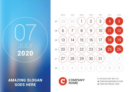 July 2020. Desk calendar. Design print template with place for photo. Week starts on Monday. Vector illustration