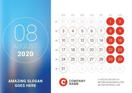 August 2020. Desk calendar. Design print template with place for photo. Week starts on Monday. Vector illustration Stock Illustratie