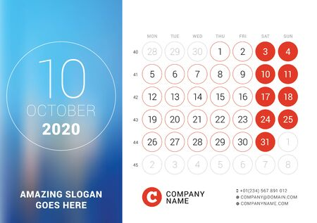 October 2020. Desk calendar. Design print template with place for photo. Week starts on Monday. Vector illustration