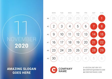 November 2020. Desk calendar. Design print template with place for photo. Week starts on Monday. Vector illustration