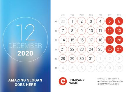 December 2020. Desk calendar. Design print template with place for photo. Week starts on Monday. Vector illustration