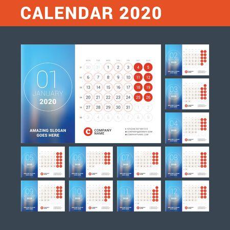 Kalendarz biurkowy na rok 2020. Zaprojektuj szablon wydruku z miejscem na zdjęcie. Tydzień zaczyna się w poniedziałek. Ilustracja wektorowa