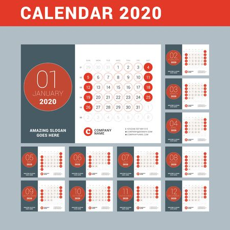 Desk calendar for 2020 year. Design print template. Set of 12 months. Week starts on Sunday. Vector illustration