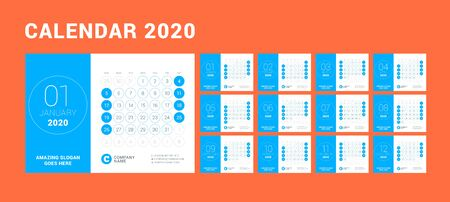 Desk calendar for 2020 year. Design print template with place for photo. Week starts on Sunday. Vector illustration