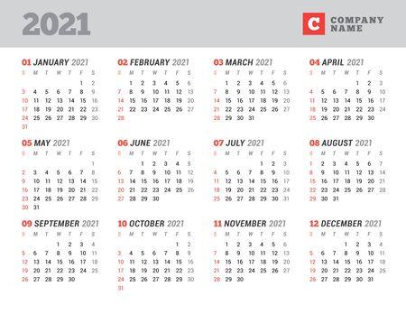 Calendar for 2021 year. Stationery design. Week starts on Sunday. Vector illustration