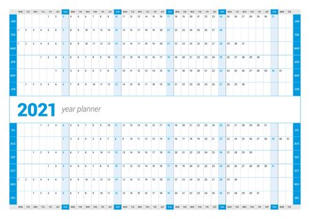Calendar yearly planner template for 2021. Printable template. Week starts on Monday. Vector stationery design