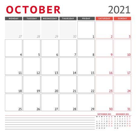 Calendar template for October 2021. Business monthly planner. Stationery design. Week starts on Monday. Vector illustration Ilustración de vector