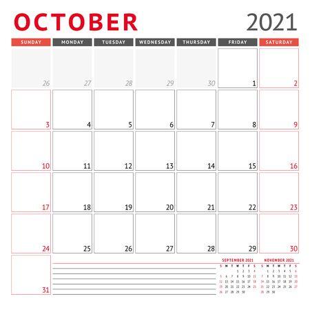 Modèle de calendrier pour octobre 2021. Planificateur mensuel d'affaires. Conception de papeterie. La semaine commence le dimanche. Illustration vectorielle