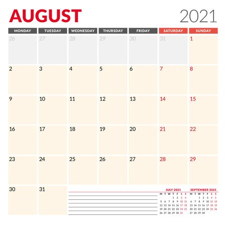 Calendar template for August 2021. Business monthly planner. Stationery design. Week starts on Monday. Vector illustration Vettoriali