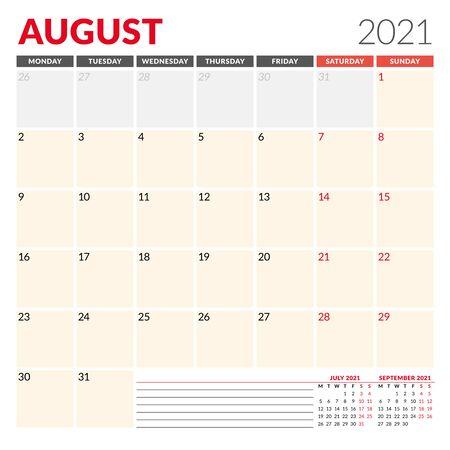 Modèle de calendrier pour août 2021. Planificateur mensuel d'affaires. Conception de papeterie. La semaine commence le lundi. Illustration vectorielle Vecteurs