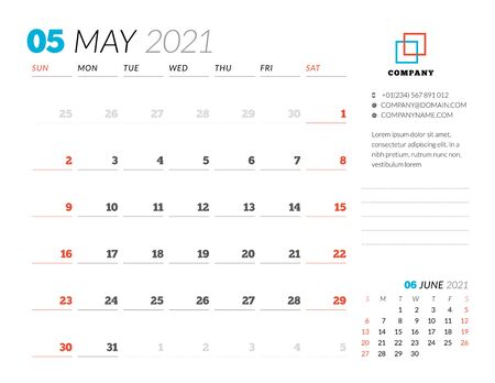 Corporate design planner template for May 2021. Monthly planner. Stationery design. Week starts on Sunday. Vector illustration
