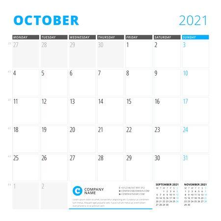 Corporate design planner template for October 2021. Monthly planner. Stationery design. Week starts on Monday. Vector illustration