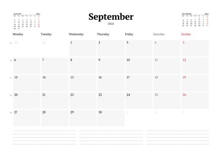 Calendar template for September 2021. Business monthly planner. Stationery design. Week starts on Monday. Vector illustration Illusztráció