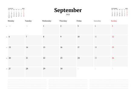Calendar template for September 2021. Business monthly planner. Stationery design. Week starts on Monday. Vector illustration Ilustração