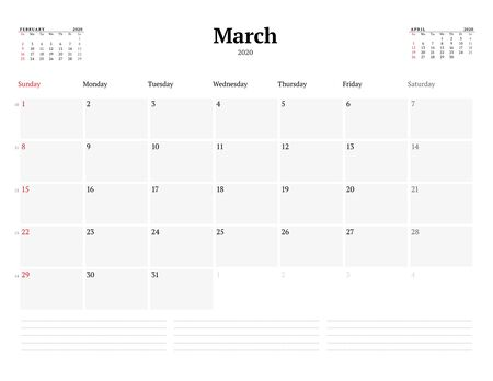 Calendar template for March 2020. Business monthly planner. Stationery design. Week starts on Sunday. Vector illustration 向量圖像