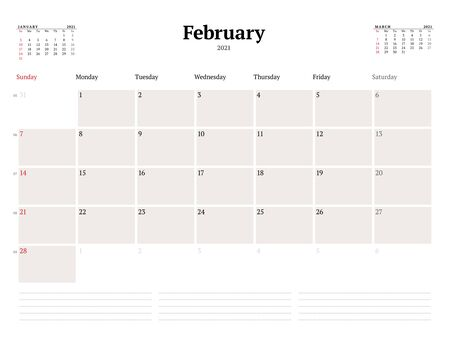 Calendar template for February 2021. Business monthly planner. Stationery design. Week starts on Sunday. Vector illustration
