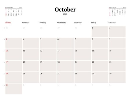 Calendar template for October 2021. Business monthly planner. Stationery design. Week starts on Sunday. Vector illustration Illusztráció
