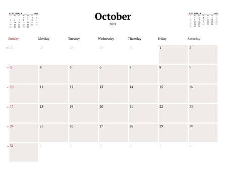 Calendar template for October 2021. Business monthly planner. Stationery design. Week starts on Sunday. Vector illustration Ilustração