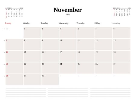 Calendar template for November 2021. Business monthly planner. Stationery design. Week starts on Sunday. Vector illustration