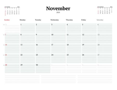 Calendar template for November 2021. Business monthly planner with dotted lines for notes. Stationery design. Week starts on Sunday. Vector illustration