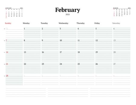 Calendar template for February 2021. Business monthly planner with dotted lines for notes. Stationery design. Week starts on Sunday. Vector illustration