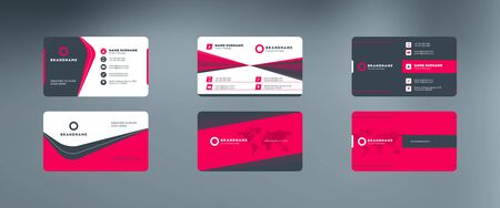 Set of modern horizontal corporate business card print templates. Vector illustration. Stationery design 向量圖像