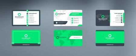 Set of modern horizontal corporate business card print templates. Vector illustration. Stationery design Illusztráció