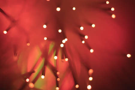 Abstract background. Fantastic fancy plants with colored branches with luminous dots at the ends. Lamp from a panicle of optical fibers on a dark background.