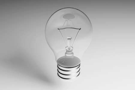Incandescent light bulb close-up on a gray metal background. 3D rendering. Transparent bulb with metal screw base.