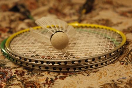 shuttlecock: Two badminton racket and shuttlecock