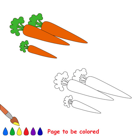 carrot isolated: Cartoon carrot to be colored. Coloring book for children.