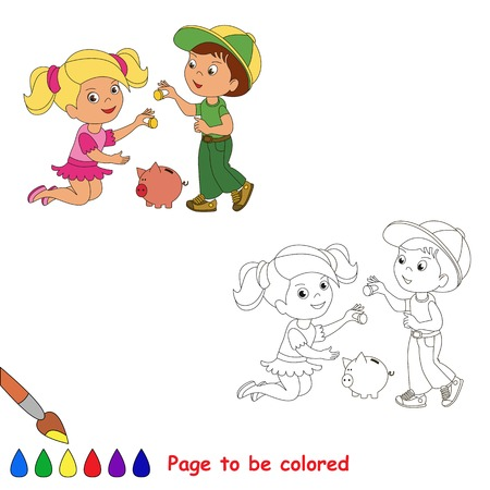 piggy: Boy and girl play with coin and piggy bank.  Coloring book for children.