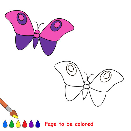 white butterfly: Cartoon butterfly  to be colored. Coloring book for children.