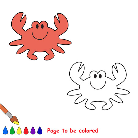 children crab: Cartoon crab to be colored. Coloring book for children.
