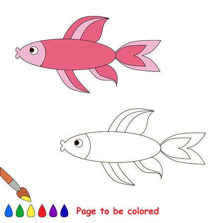 Peces De Colores. Libro Para Colorear Para Los Niños. Página A Ser ...