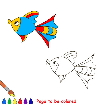 sealife: Colorful fish. Coloring book for children. Page to be color. Sealife.